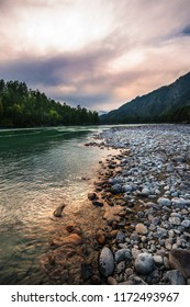 Mountain river Katun surrounded by mountains at sunset. Mountain Altai, Southern Siberia, Russia