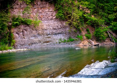 mountain river, landscape in the Carpathian Mountains, view on the rock