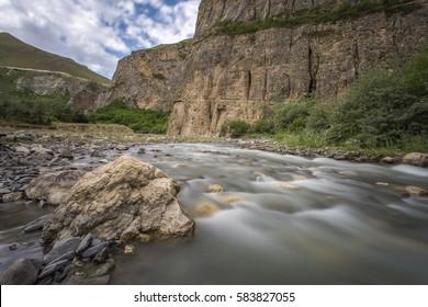 Mountain river, mountain landscape in Guba region of Azerbaijan