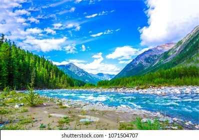 Mountain river landscape. River valley in mountains. Mountain wild river flow