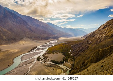 Mountain & River at Leh, India.