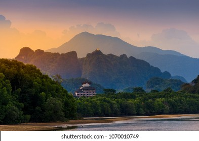 Mountain River Light River in Krabi, Thailand Tiger Cave Temple atmosphere beauty Nature