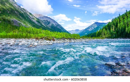 Mountain river nature forest background