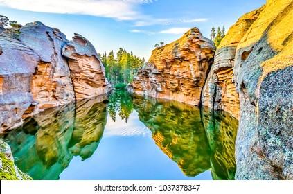 Mountain river reflection landscape