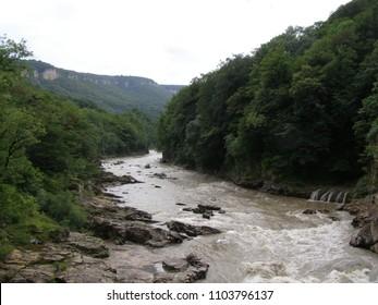 mountain river. rivers of the Carpathians. rapid river