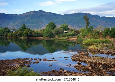 Mountain river with rocks in Bolaven, Laos