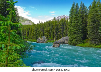 Mountain River at Rocky Mountains, Alberta, Canada.