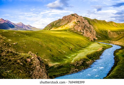 Mountain river stream summer landscape