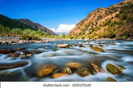 Mountain river stream water flowing landscape