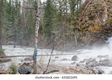 Mountain river. Strong water flow in the river from the mountain. Bystry river. Noisy river.