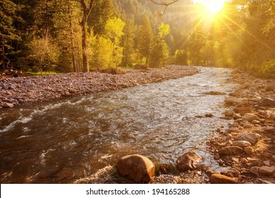 Mountain River at Sunset. South Boulder Creek River in Eldorado Canyon State Park, Boulder, Colorado, United States.