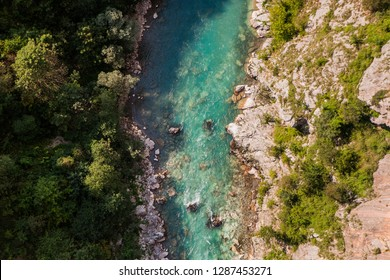 Mountain river Tara and Scenic deep canyon. rafting route, Durmitor National Park, Montenegro. Top view