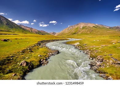 Mountain river in the mountain valley at blue sky in Kyrgyzstan