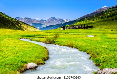 Mountain river valley landscape. River valley in mountains. Beautiful mountain river valley panorama