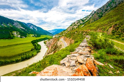 Mountain river valley landscape. River valley in mountains. Mountain river landscape. Mountain river valley view