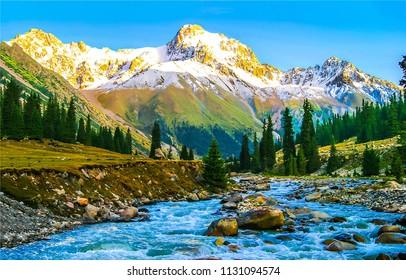Mountain river valley landscape. Mountain valley river panorama. Mountain river flow