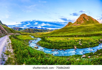 Mountain river valley path panoramic landscape. Path at mountain river valley. Mountain river path landscape