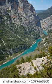 Mountain river. Verdon Canyon in springtime, Provence. France