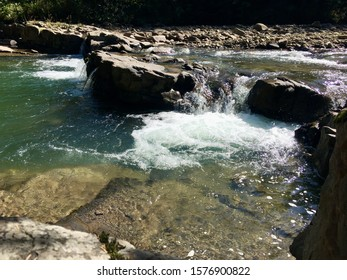 Mountain river view with boiling life of mountain rivers. Ukraine.