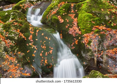 Mountain river waterfall in autumn leaf colors - Sunik water grove, river Lepenca, Bovec, Slovenia, water background, turquoise, river, stream, autumn leaf, stones, rocks, Soca valley, Triglav nationa