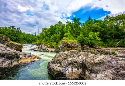 Mountain river wild rock view. River wild rocks. Forest river wild view