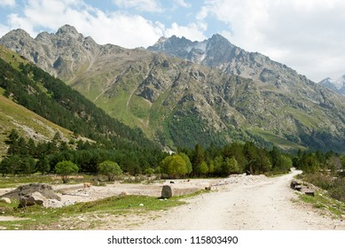 Mountain road in Adyr-su valley in Kabardino-Balkaria (Russia)