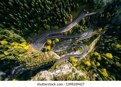 Mountain road aerial view. Bicaz pass through the Romanian Carpathians