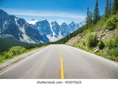 Mountain road in Alberta, Canada