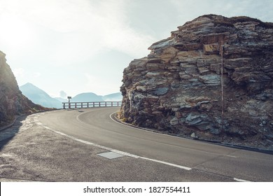 Mountain road at Austia. Backplate road. Grossglockner High Alpine Road.