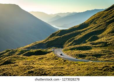Mountain road between Queenstown and Wanaka in New Zealand