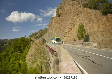 Mountain road. Bus travel in Northern Cyprus.