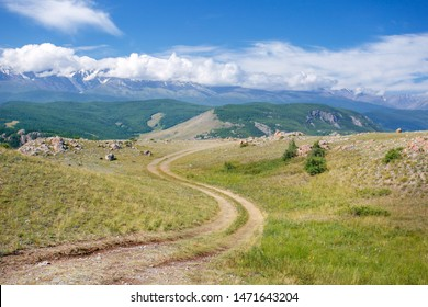 Mountain road. Country road in the mountains in summer day.