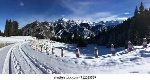 Mountain road during winter. Xinjiang, China