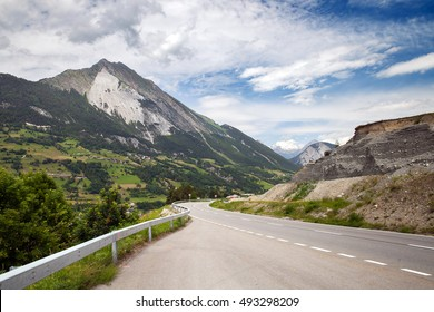 A mountain road in the european Alps