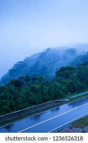 Mountain road in foggy dusk, asphalt road through the mountain top of Phnom Bokor Mountain in rainy day, Preah Monivong Bokor National Park, Kampot, Cambodia. Shallow dept of field. Blue tone.