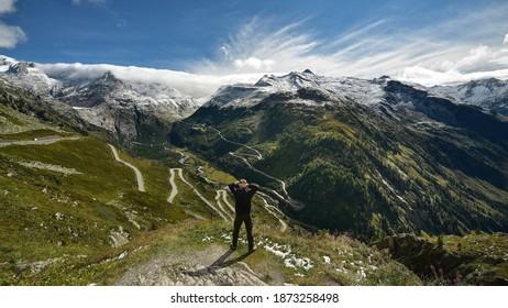 Mountain road in Furka Valey Switzerland