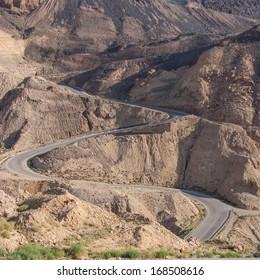 Mountain road with hairpin bends, Jordan