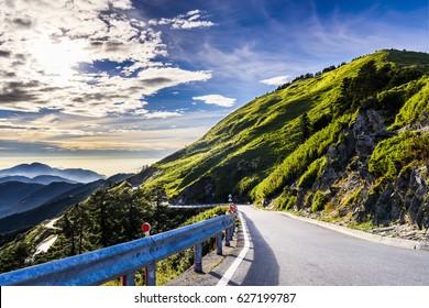 Mountain road in Hehuan, Taiwan, Asia.