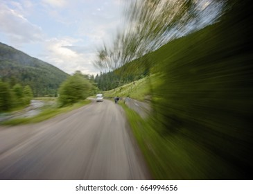 Mountain road at hight speed drive