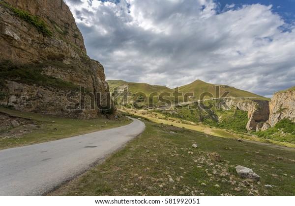 Mountain road, mountain landscape in Guba region of Azerbaijan