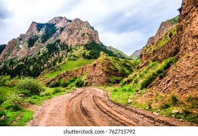 Mountain road landscape. Mountain terrain road landscape. Terrain road mountain landscape