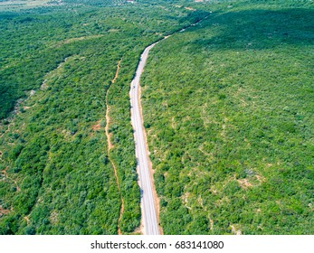 Mountain Road with Many Turns, aerial view