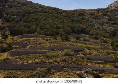 Mountain road up Mount Taygetus in Santorini Greece