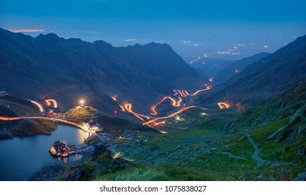 mountain road at night. Transfagarasan, Romania