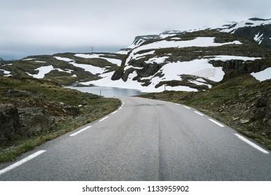 Mountain road in Norway runs from Aurlandsvangen to Laerdalsoyri
