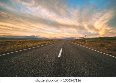 Mountain road on the sunset. Chuya trakt, Altay.