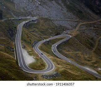 a mountain road on Transfagarasan Romania