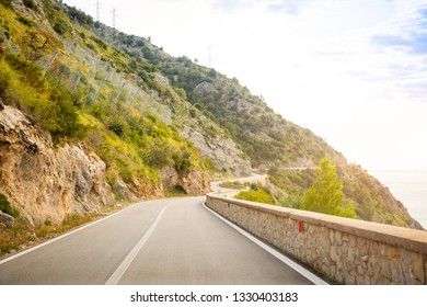 Mountain road with sea view near Maratea, Basilicata in Italy