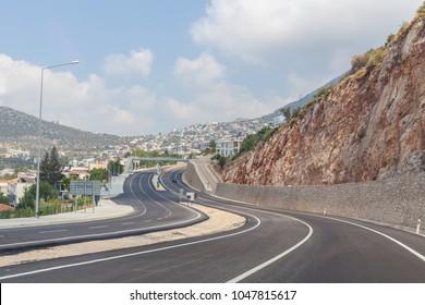 Mountain road serpentine in Kalkan, Turkey, Mediterranean coast