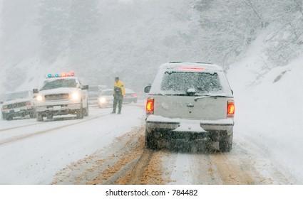 Mountain road in snow storm, Utah